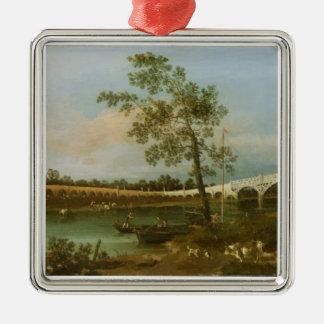 Old Walton's Bridge, 1755 (oil on canvas) Metal Ornament
