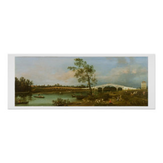 Old Walton's Bridge, 1755 (oil on canvas) Poster