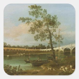 Old Walton's Bridge, 1755 (oil on canvas) Square Sticker