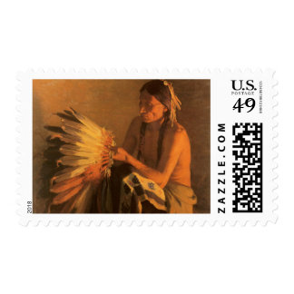 Old War Bonnet by Joseph Henry Sharp Stamps