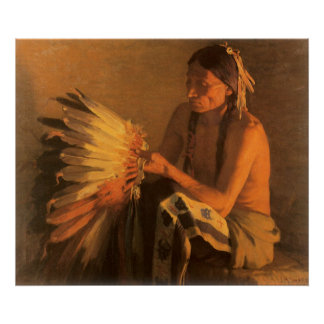 Old War Bonnet by Joseph Henry Sharp Poster