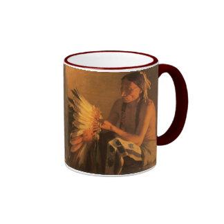 Old War Bonnet by Joseph Henry Sharp Ringer Coffee Mug
