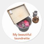 old washtub round sticker