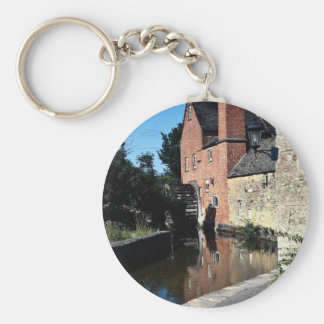 Old water mill, Lower Slaughter, Cotswolds, Englan Basic Round Button Keychain