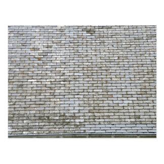 Old Weathered Gray Slate Tiles Roof Postcard