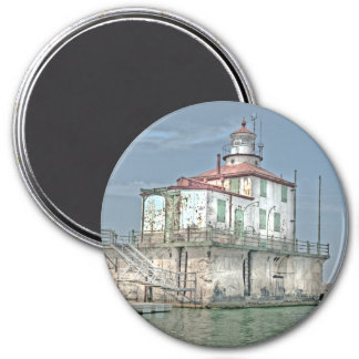 Old Weathered Lake Lighthouse 3 Inch Round Magnet