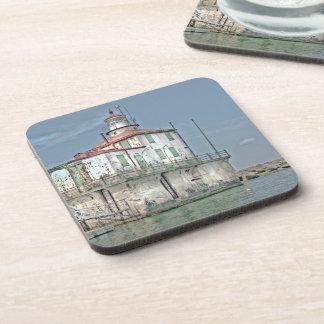 Old Weathered Lake Lighthouse Beverage Coaster