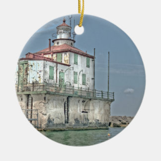 Old Weathered Lake Lighthouse Ceramic Ornament