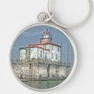 Old Weathered Lake Lighthouse Keychain