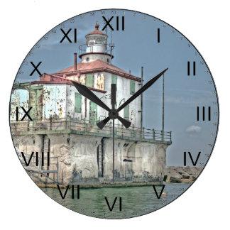 Old Weathered Lake Lighthouse Large Clock