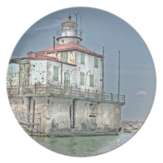 Old Weathered Lake Lighthouse Plate