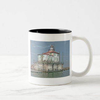 Old Weathered Lake Lighthouse Two-Tone Coffee Mug