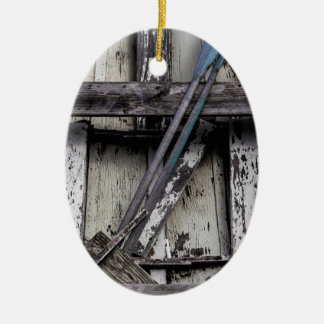 Old weathered row boat. ceramic ornament