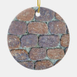 Old Weathered Stone Pavement Background Christmas Ornament