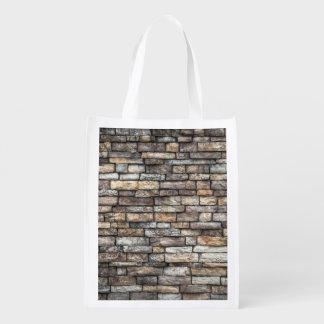 Old Weathered Stone Wall Texture Reusable Grocery Bag