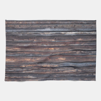 Old weathered wood wall texture hand towel