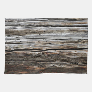 Old Weathered Wood Wall Texture Kitchen Towel