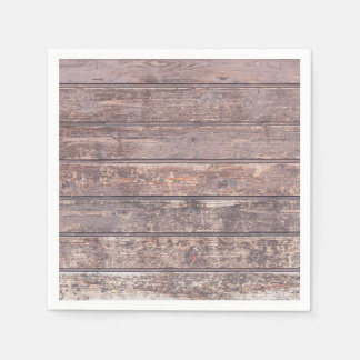 Old weathered wood wall texture standard cocktail napkin