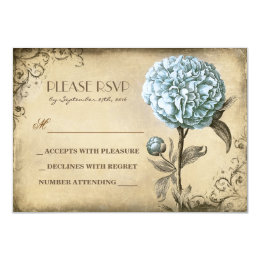 old wedding RSVP card with blue peony bloom