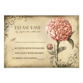old wedding RSVP card with pink peony bloom 3.5