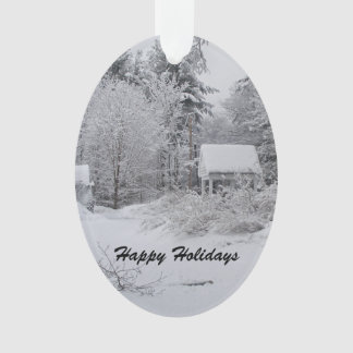 Old Well House in Winter Snowstorm Ornament