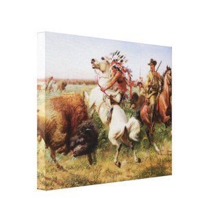 Old West 1895 Buffalo Hunt 3D Art Wrapped Canvas
