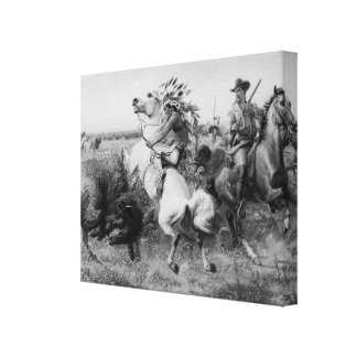 Old West 1895 Buffalo Hunt 3D Wrapped Canvas