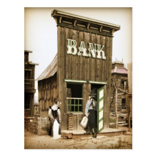 Old West Bank Robbery Postcard