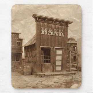 Old West Bank Sepia Mouse Pad