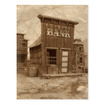Old West Bank Sepia Postcard