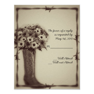 """Old West Boot and Bouquet Vintage Response Card 4.25"""" X 5.5"""" Invitation Card"""