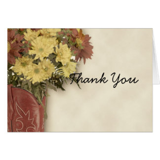 Old West Boot Bouquet 3 Thank You card