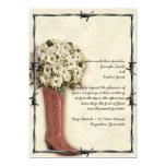 Old West Boot Bouquet Faded 2 Wedding Invitation