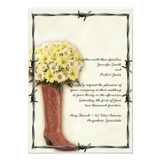 """Old West Boot Bouquet Soft and Faded 1 Invitation 5"""" X 7"""" Invitation Card"""