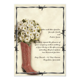 """Old West Boot Bouquet Soft and Faded 2 Invitation 5"""" X 7"""" Invitation Card"""