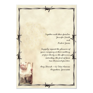 """Old West Boots and Bouquets Invitation 5"""" X 7"""" Invitation Card"""