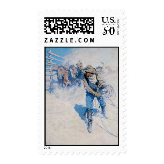 Old West Breaking Horses Postage Stamps