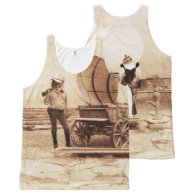 Old West Cats with Covered Wagon All-Over-Print Tank Top