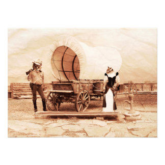 Old West Cats with Covered Wagon Personalized Invitation