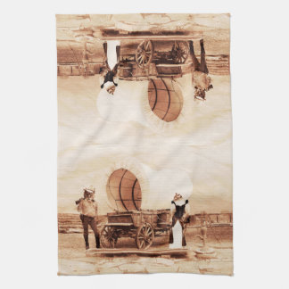 Old West Cats with Covered Wagon Hand Towel