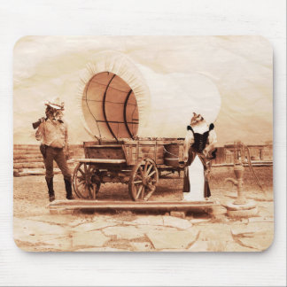 Old West  Cats with Covered Wagon Mouse Pad