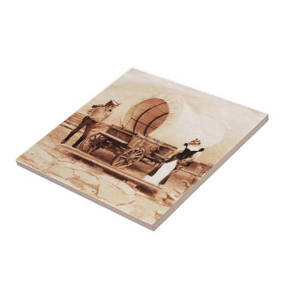 Old West  Cats with Covered Wagon Tile