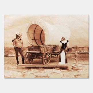 Old West Cats with Covered Wagon Lawn Sign