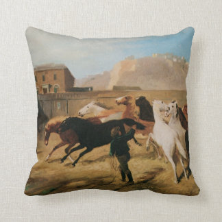 Old West Corral of Horses American MoJo Pillow