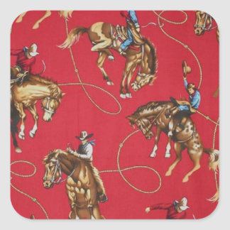 Old West Cowboy Bronc Rider Red Stickers