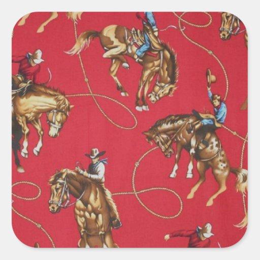 Old West Cowboy Bronc Rider Red Stickers