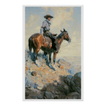 Old West Cowboy of the Plains Art Print Poster