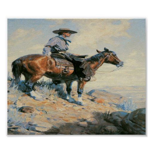Old West Cowboy Scout Art Print Poster