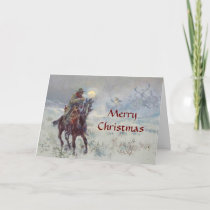 Old West Cowboy see's Santa Christmas Card
