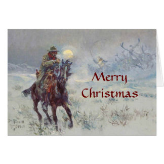 Old West Cowboy see's Santa Christmas Card
